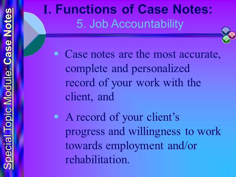Special Topic Module: Case Notes I.