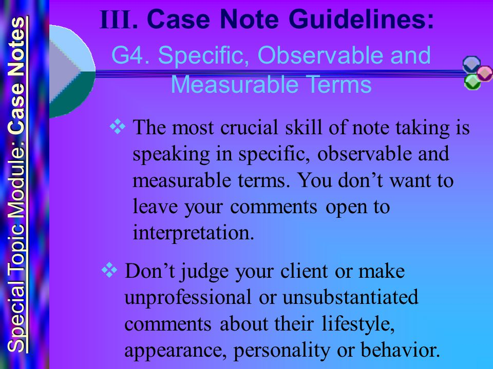 Special Topic Module: Case Notes III. Case Note Guidelines: G4.