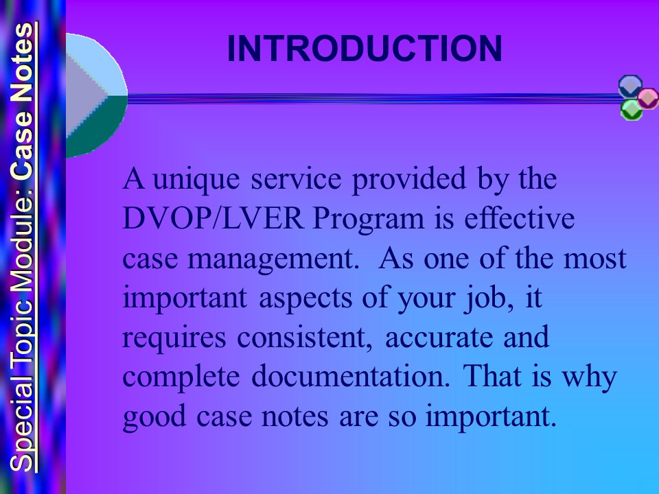 Special Topic Module: Case Notes A unique service provided by the DVOP/LVER Program is effective case management.