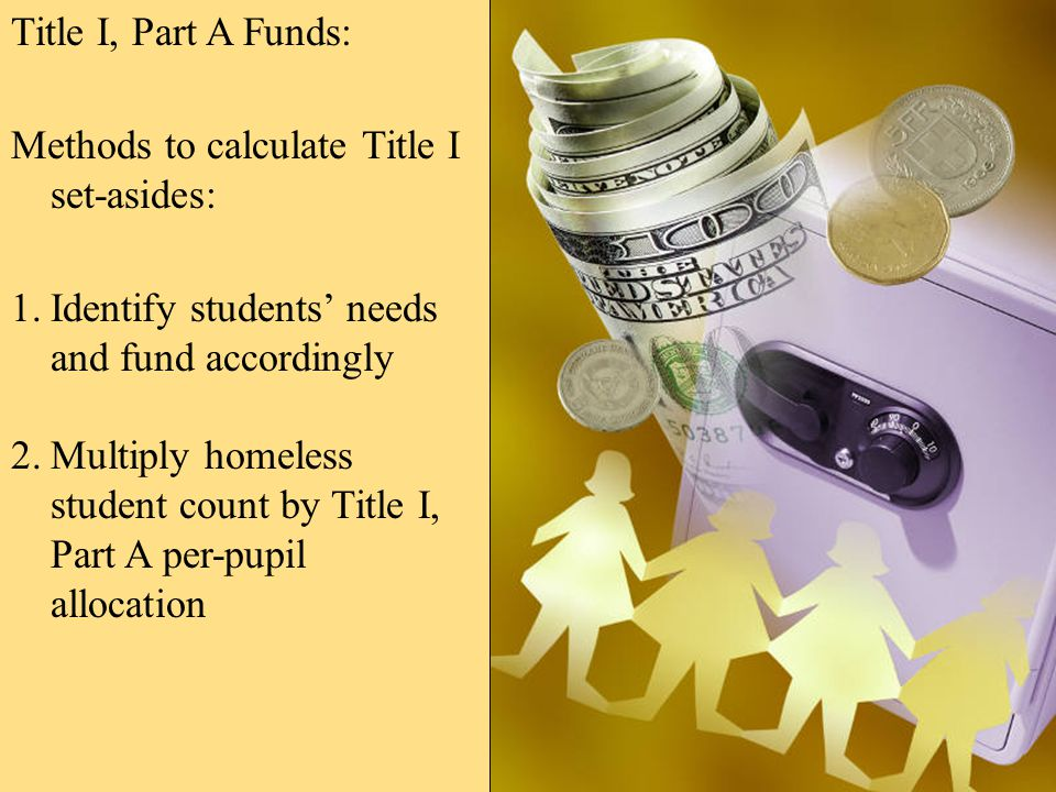 Title I, Part A Funds: Methods to calculate Title I set-asides: 1.Identify students' needs and fund accordingly 2.Multiply homeless student count by Title I, Part A per-pupil allocation