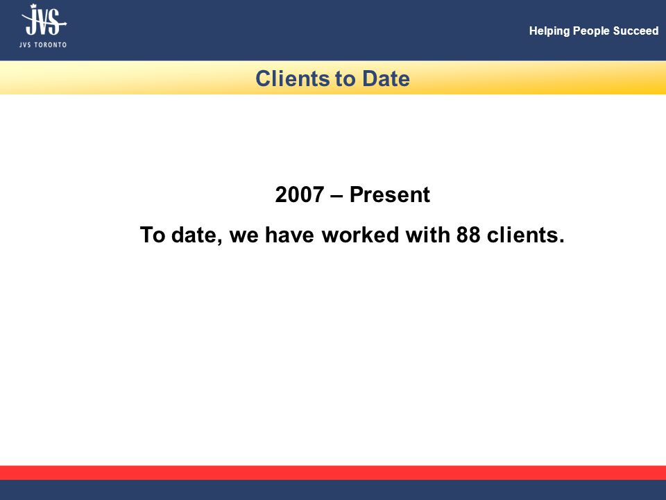 Helping People Succeed Clients to Date 2007 – Present To date, we have worked with 88 clients.