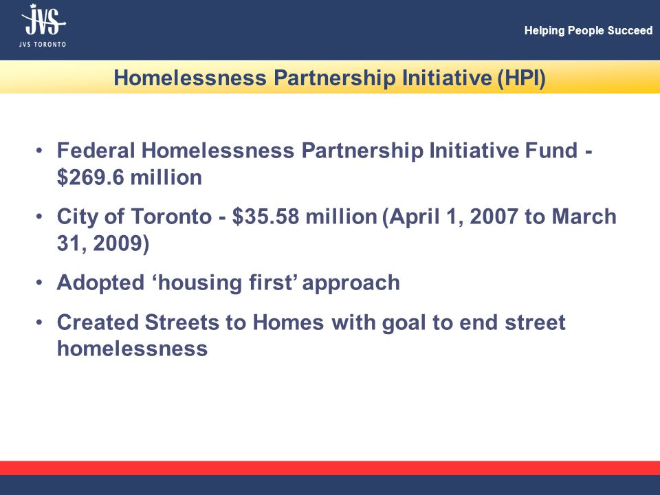 Helping People Succeed Homelessness Partnership Initiative (HPI) Federal Homelessness Partnership Initiative Fund - $269.6 million City of Toronto - $35.58 million (April 1, 2007 to March 31, 2009) Adopted 'housing first' approach Created Streets to Homes with goal to end street homelessness