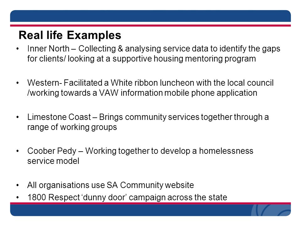 Real life Examples Inner North – Collecting & analysing service data to identify the gaps for clients/ looking at a supportive housing mentoring program Western- Facilitated a White ribbon luncheon with the local council /working towards a VAW information mobile phone application Limestone Coast – Brings community services together through a range of working groups Coober Pedy – Working together to develop a homelessness service model All organisations use SA Community website 1800 Respect 'dunny door' campaign across the state