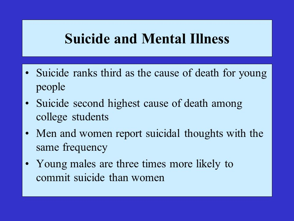 Suicide and Mental Illness Suicide ranks third as the cause of death for young people Suicide second highest cause of death among college students Men