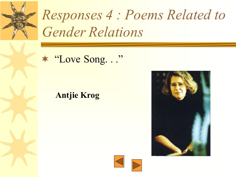 "Responses 4 : Poems Related to Gender Relations  ""Love Song..."" Antjie Krog"