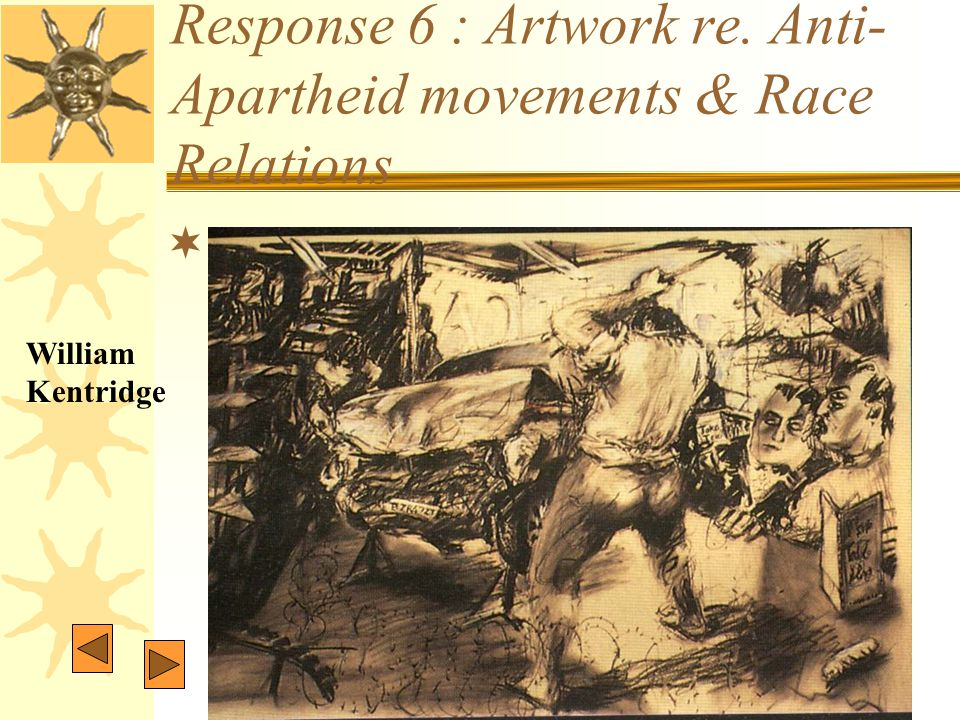 Response 6 : Artwork re. Anti- Apartheid movements & Race Relations  William Kentridge