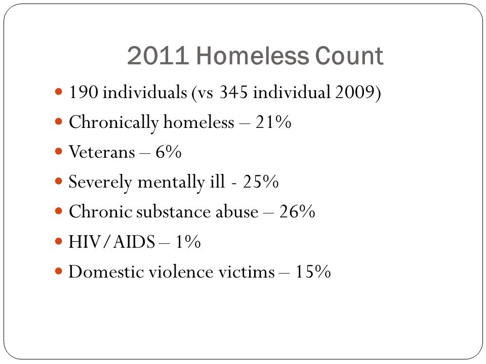 2011 Homeless Count 190 individuals (vs 345 individual 2009) Chronically homeless – 21% Veterans – 6% Severely mentally ill - 25% Chronic substance abuse – 26% HIV/AIDS – 1% Domestic violence victims – 15%