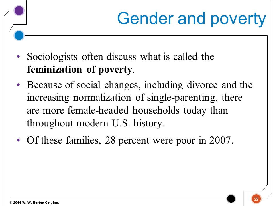 © 2011 W. W. Norton Co., Inc. Gender and poverty Sociologists often discuss what is called the feminization of poverty. Because of social changes, inc