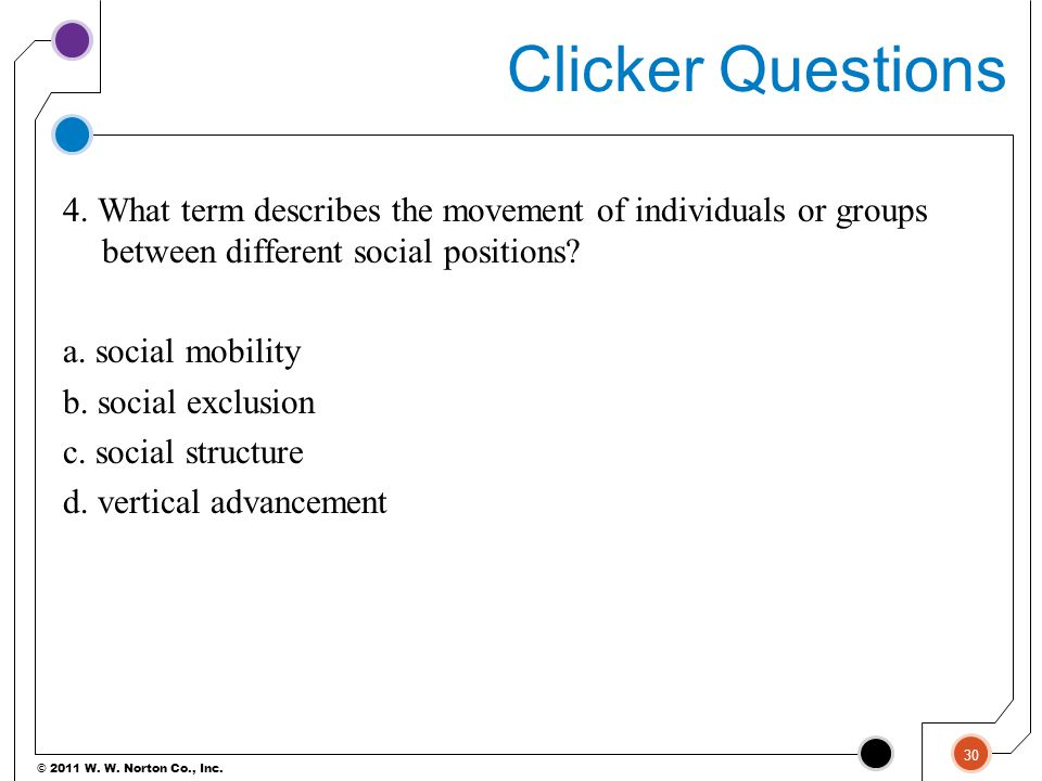 © 2011 W. W. Norton Co., Inc. Clicker Questions 4. What term describes the movement of individuals or groups between different social positions? a. so