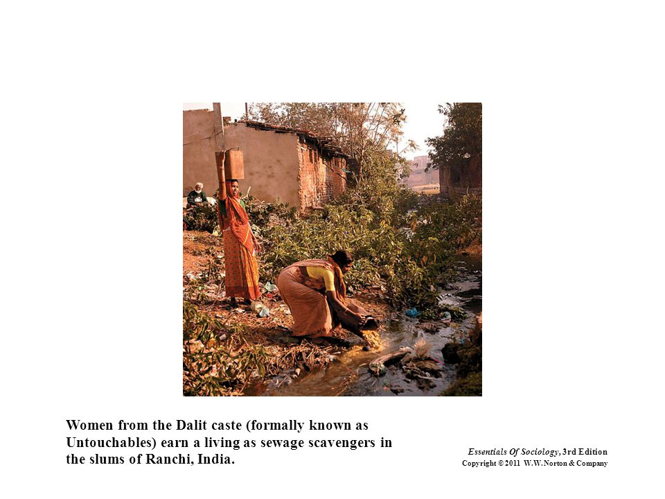 Women from the Dalit caste (formally known as Untouchables) earn a living as sewage scavengers in the slums of Ranchi, India. Essentials Of Sociology,