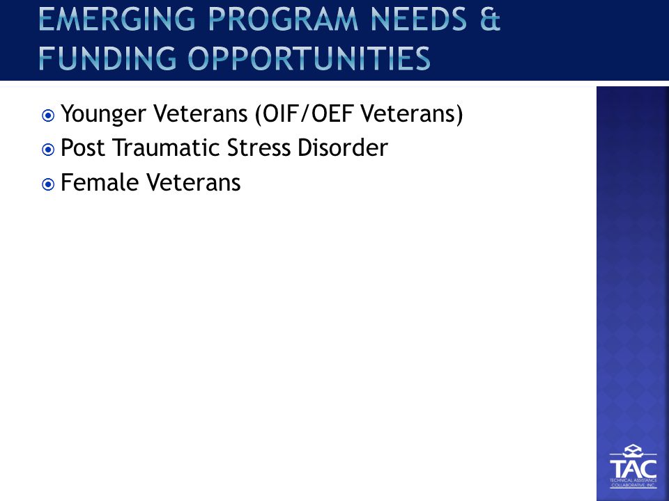  Younger Veterans (OIF/OEF Veterans)  Post Traumatic Stress Disorder  Female Veterans