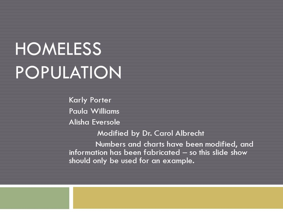 HOMELESS POPULATION Karly Porter Paula Williams Alisha Eversole Modified by Dr.