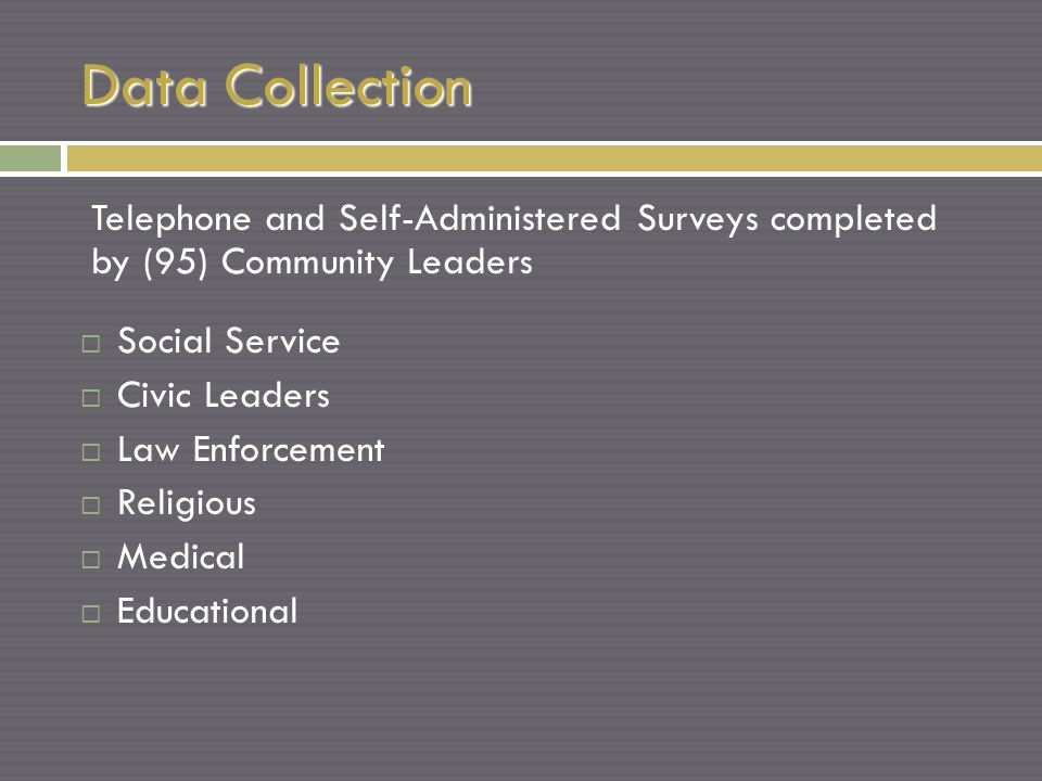 Data Collection Telephone and Self-Administered Surveys completed by (95) Community Leaders  Social Service  Civic Leaders  Law Enforcement  Religious  Medical  Educational
