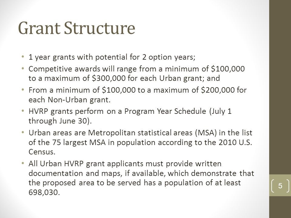 Grant Structure 1 year grants with potential for 2 option years; Competitive awards will range from a minimum of $100,000 to a maximum of $300,000 for each Urban grant; and From a minimum of $100,000 to a maximum of $200,000 for each Non-Urban grant.