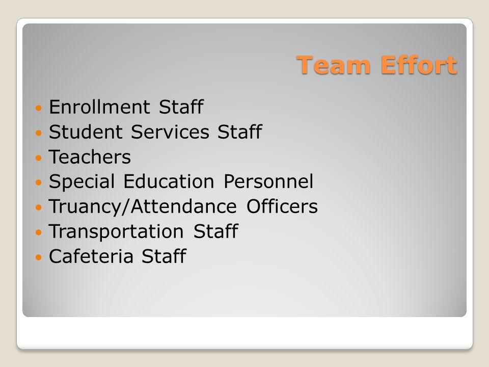 Team Effort Enrollment Staff Student Services Staff Teachers Special Education Personnel Truancy/Attendance Officers Transportation Staff Cafeteria Staff