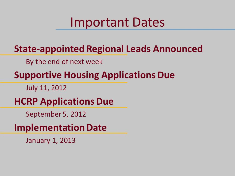 Important Dates State-appointed Regional Leads Announced By the end of next week Supportive Housing Applications Due July 11, 2012 HCRP Applications Due September 5, 2012 Implementation Date January 1, 2013