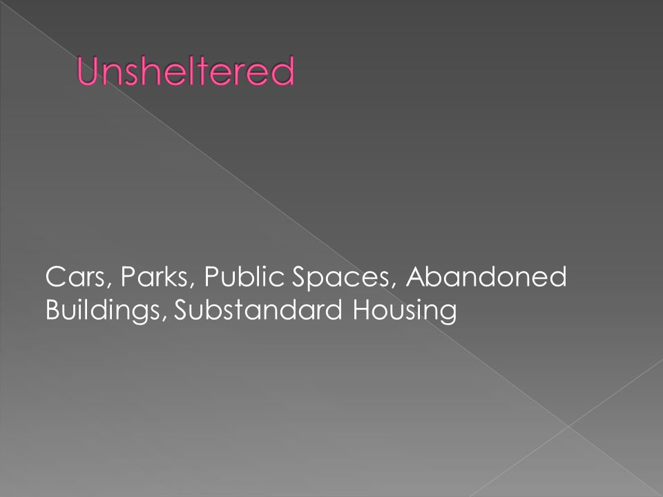 Cars, Parks, Public Spaces, Abandoned Buildings, Substandard Housing