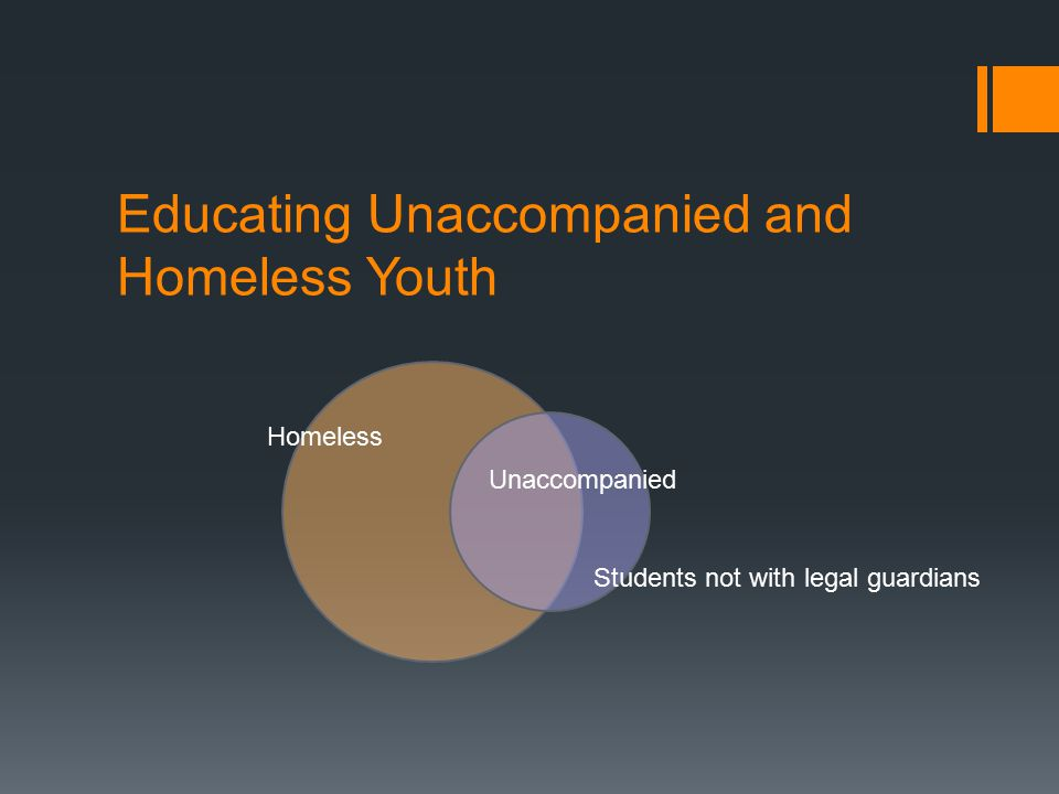 Educating Unaccompanied and Homeless Youth Homeless Unaccompanied Students not with legal guardians