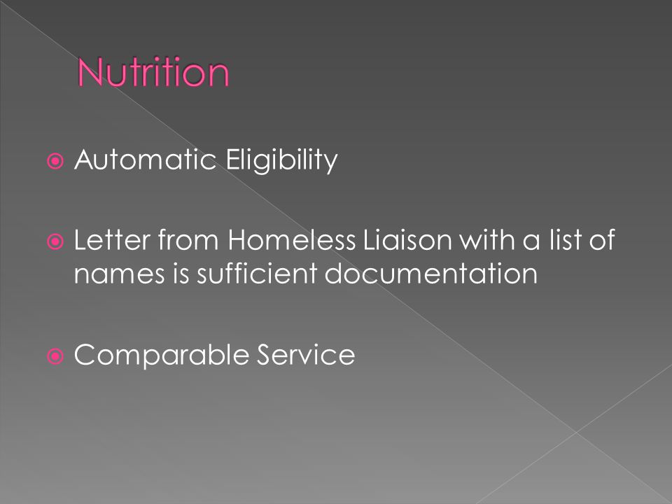  Automatic Eligibility  Letter from Homeless Liaison with a list of names is sufficient documentation  Comparable Service