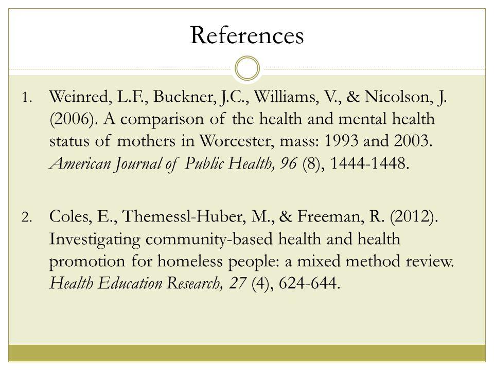 References 1. Weinred, L.F., Buckner, J.C., Williams, V., & Nicolson, J.