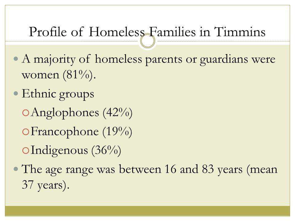 Profile of Homeless Families in Timmins A majority of homeless parents or guardians were women (81%).