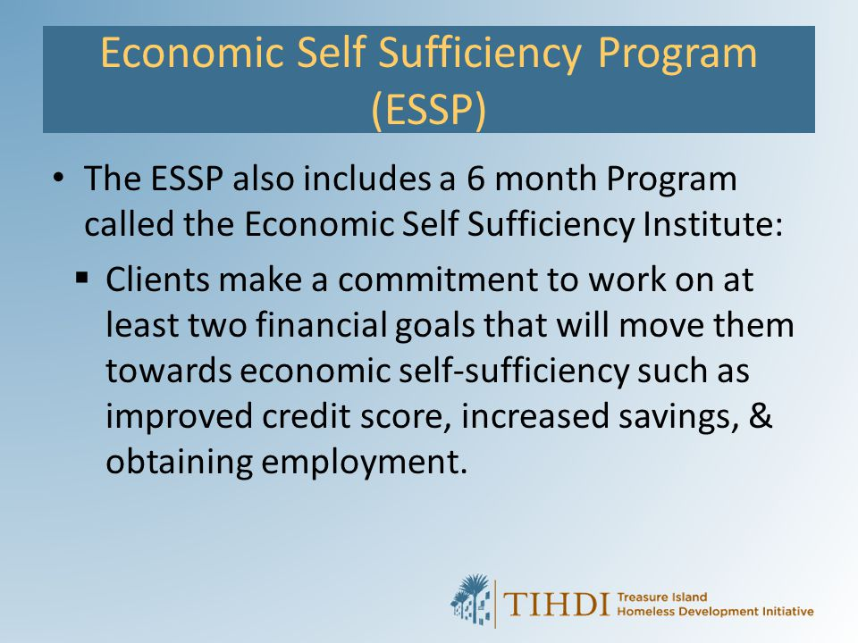 Economic Self Sufficiency Program (ESSP) The ESSP also includes a 6 month Program called the Economic Self Sufficiency Institute:  Clients make a com