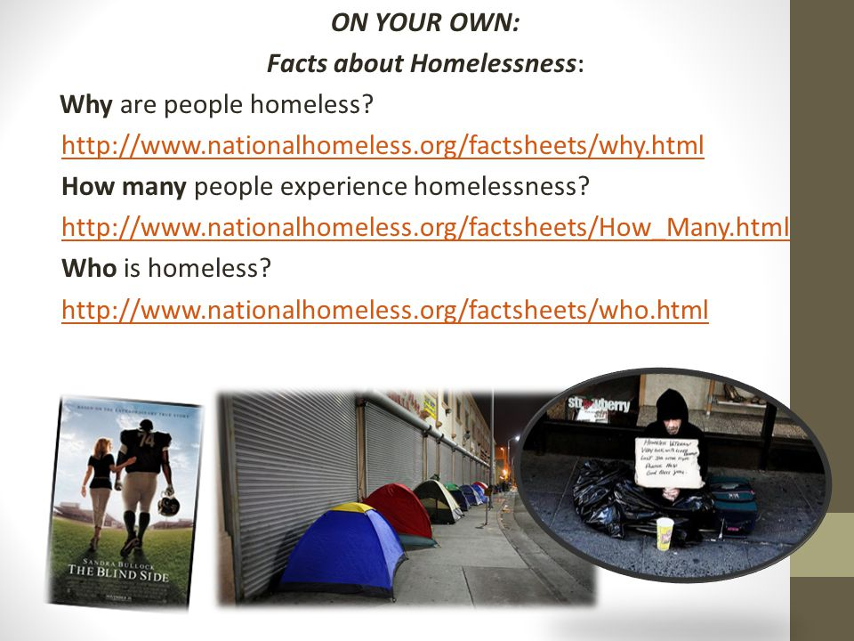 ON YOUR OWN: Facts about Homelessness : Why are people homeless? http://www.nationalhomeless.org/factsheets/why.html How many people experience homele