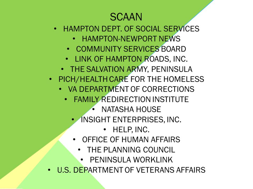 GREATER VIRGINIA PENINSULA HOMELESSNESS CONSORTIUM (GVPHC) Mission SCAAN HAMPTON DEPT. OF SOCIAL SERVICES HAMPTON-NEWPORT NEWS COMMUNITY SERVICES BOAR