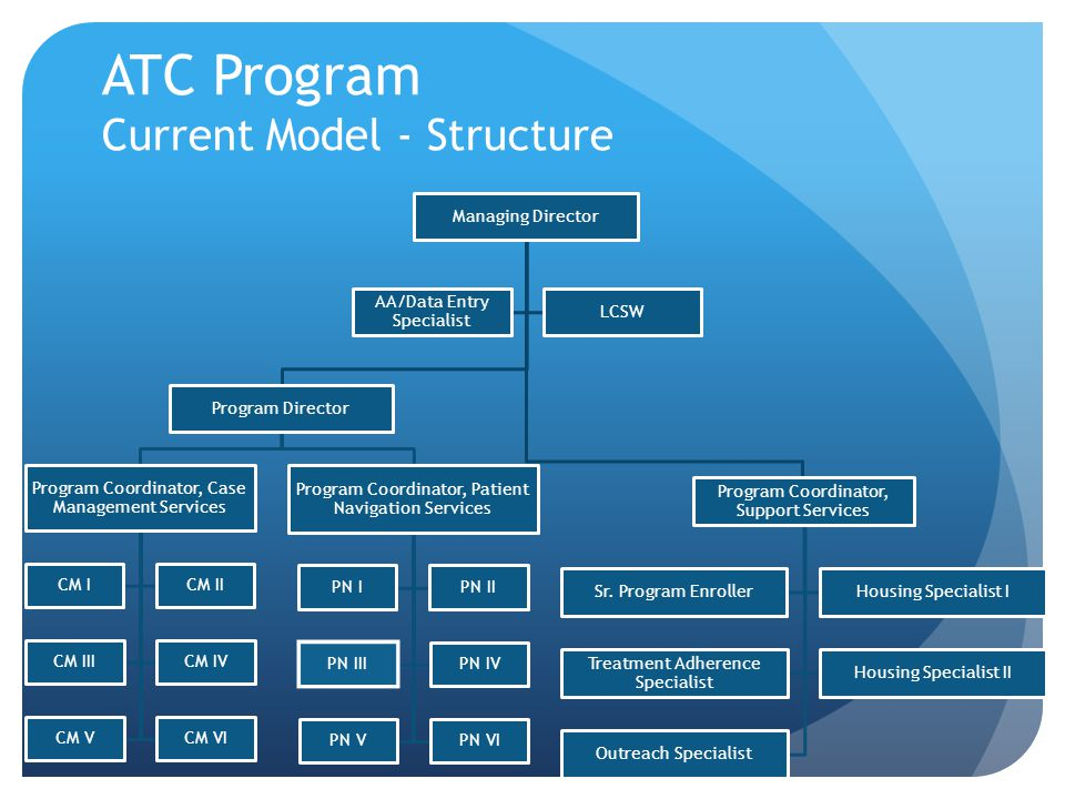 ATC Program Current Model - Structure Managing Director Program Director Program Coordinator, Case Management Services CM ICM II CM IIICM IV CM VCM VI Program Coordinator, Patient Navigation Services PN IPN II PN IIIPN IV PN VPN VI Program Coordinator, Support Services Sr.