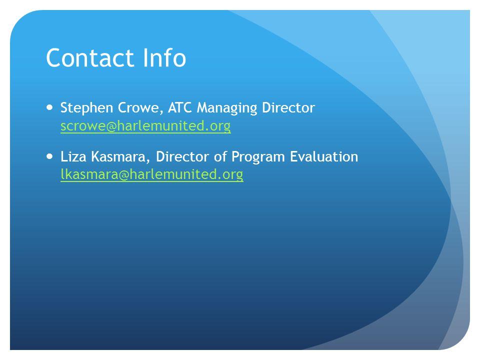 Stephen Crowe, ATC Managing Director scrowe@harlemunited.org scrowe@harlemunited.org Liza Kasmara, Director of Program Evaluation lkasmara@harlemunited.org lkasmara@harlemunited.org Contact Info