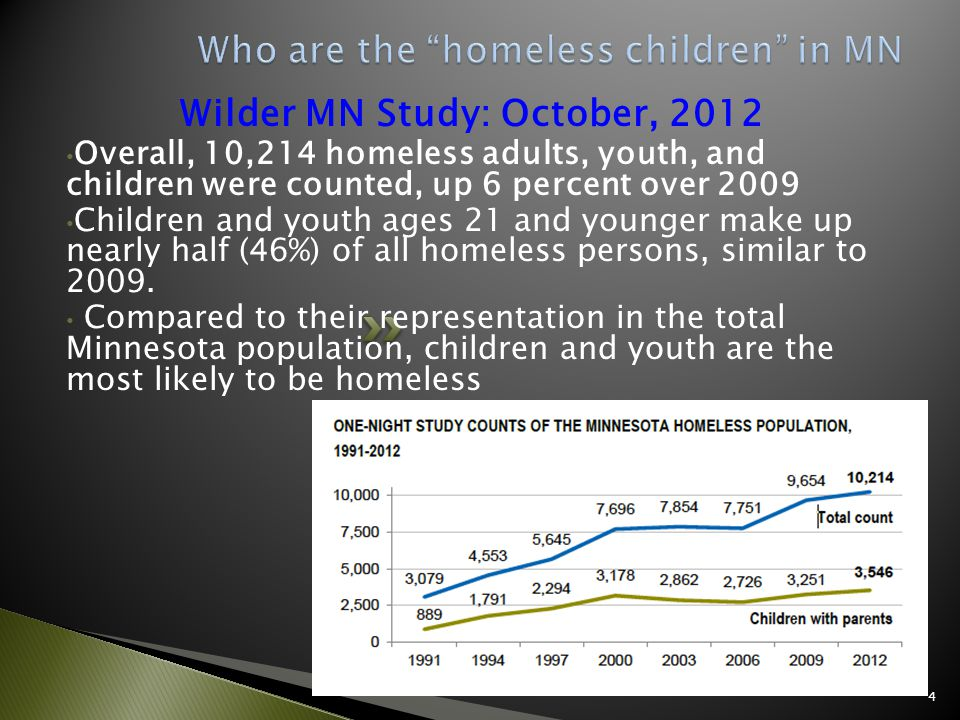 Wilder MN Study: October, 2012 Overall, 10,214 homeless adults, youth, and children were counted, up 6 percent over 2009 Children and youth ages 21 and younger make up nearly half (46%) of all homeless persons, similar to 2009.