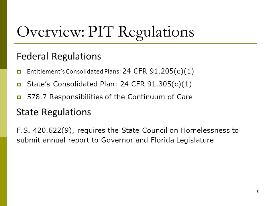 Overview: PIT Standards General PIT Count Standards :  Standard No.