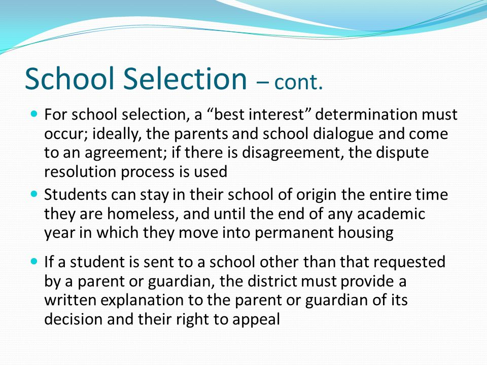School Selection – cont.