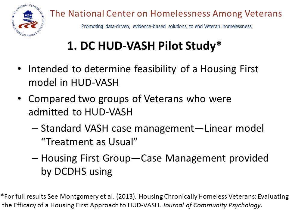 The National Center on Homelessness Among Veterans Promoting data-driven, evidence-based solutions to end Veteran homelessness 1. DC HUD-VASH Pilot St