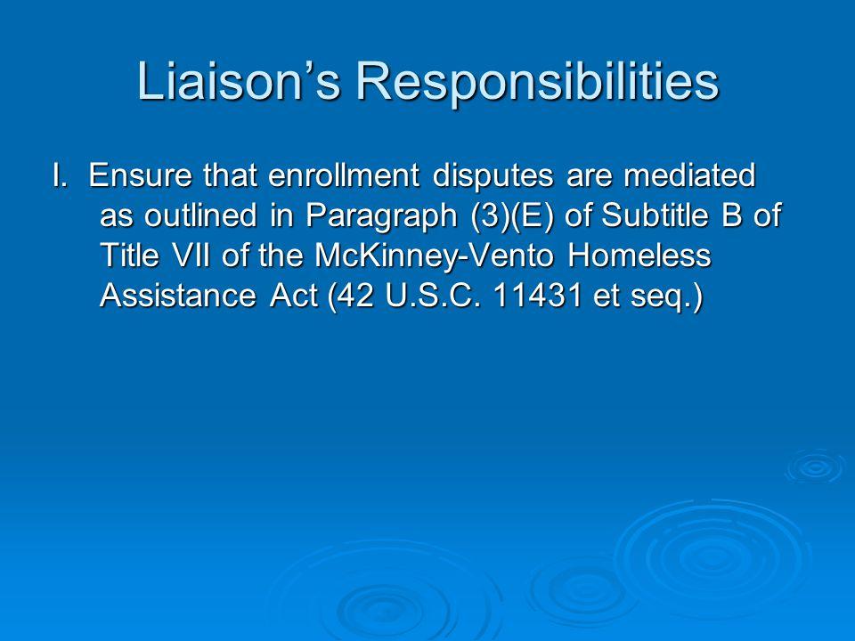 Liaison's Responsibilities I.