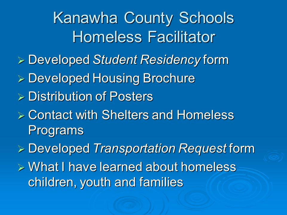 Kanawha County Schools Homeless Facilitator  Developed Student Residency form  Developed Housing Brochure  Distribution of Posters  Contact with Shelters and Homeless Programs  Developed Transportation Request form  What I have learned about homeless children, youth and families