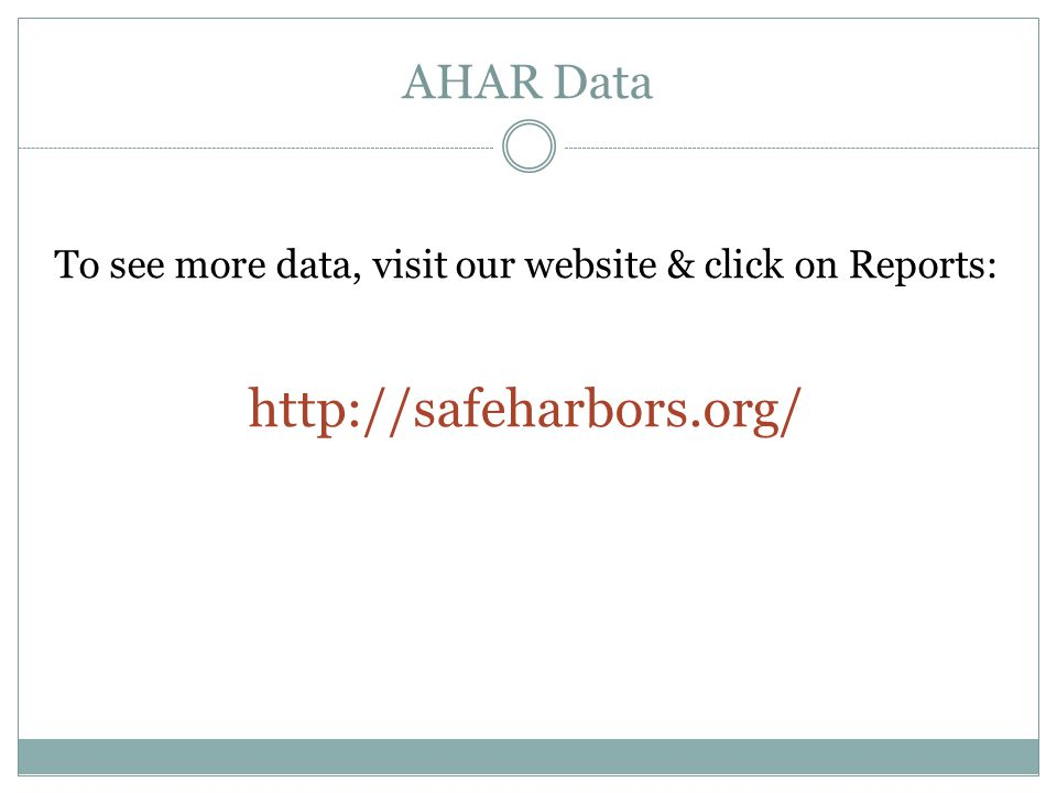 AHAR Data To see more data, visit our website & click on Reports: http://safeharbors.org/