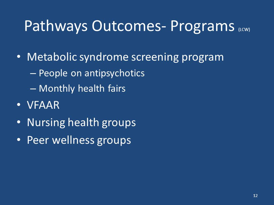 Pathways Outcomes- Programs (LCW) Metabolic syndrome screening program – People on antipsychotics – Monthly health fairs VFAAR Nursing health groups Peer wellness groups 12