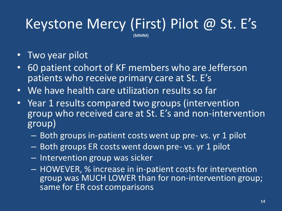 Keystone Mercy (First) Pilot @ St. E's (MMM) Two year pilot 60 patient cohort of KF members who are Jefferson patients who receive primary care at St.