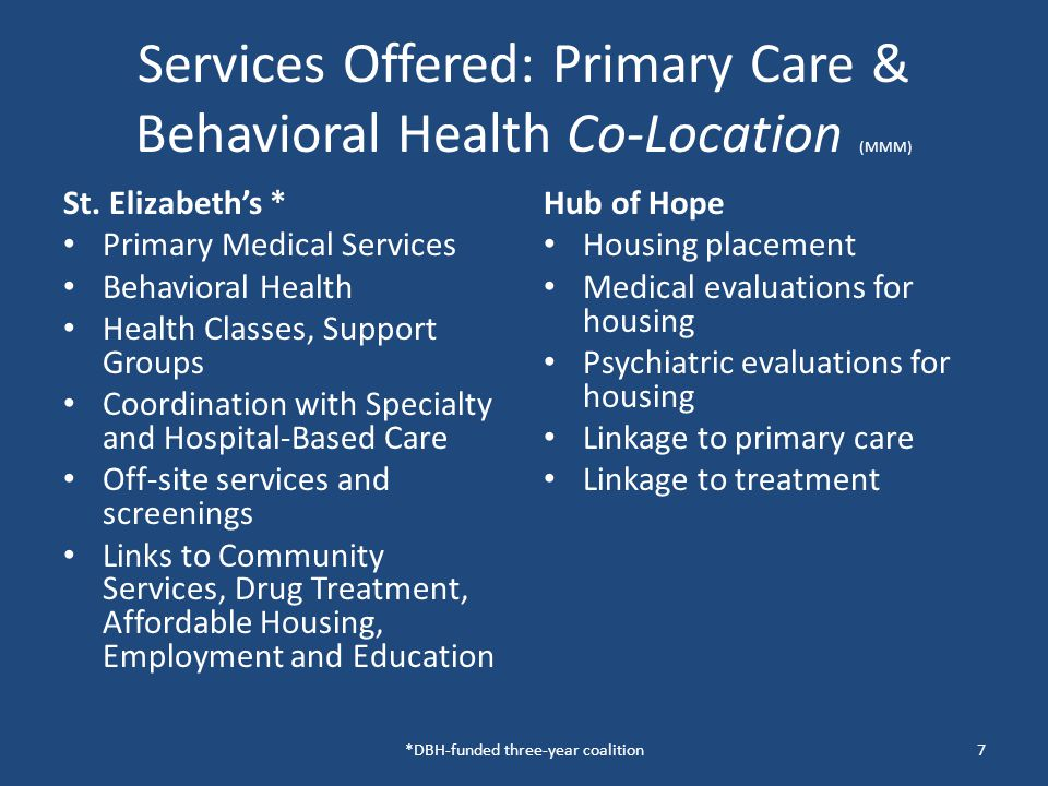 Services Offered: Primary Care & Behavioral Health Co-Location (MMM) Service providers involved @ St.