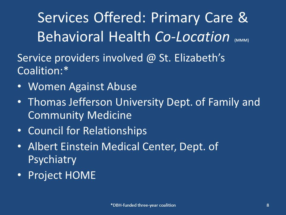 Services offered: Integrated Care Model @ Pathways to Housing (LCW) Psychiatry Primary care Social Work Nursing Peer Specialist Vocational Specialist Substance Abuse specialist Supporting Informed Activated Patient Partner 9