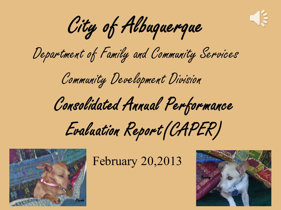Consolidated Annual Performance Evaluation Report(CAPER) City of Albuquerque February 20,2013 Department of Family and Community Services Community Development Division Persia Bombay
