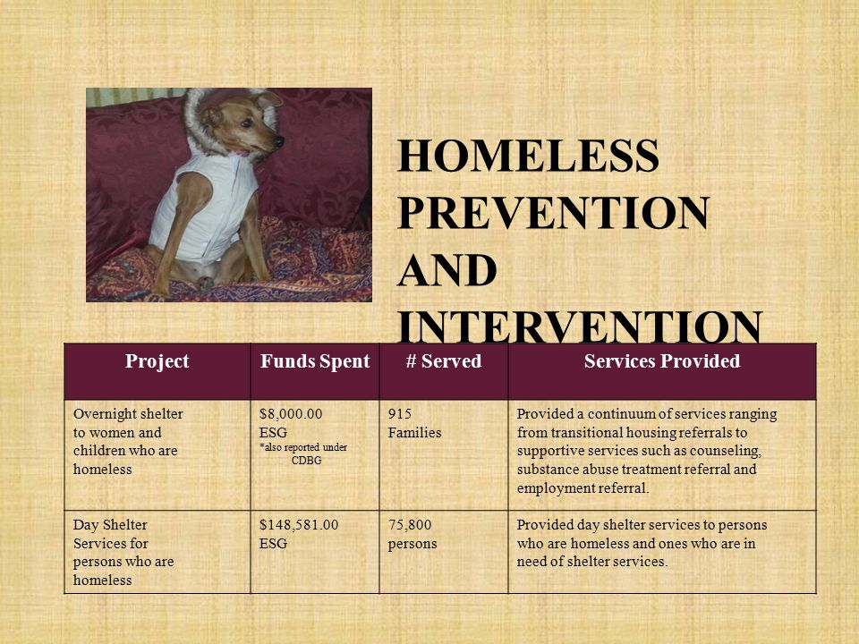 ProjectFunds Spent# ServedServices Provided Overnight shelter to women and children who are homeless $8,000.00 ESG *also reported under CDBG 915 Families Provided a continuum of services ranging from transitional housing referrals to supportive services such as counseling, substance abuse treatment referral and employment referral.