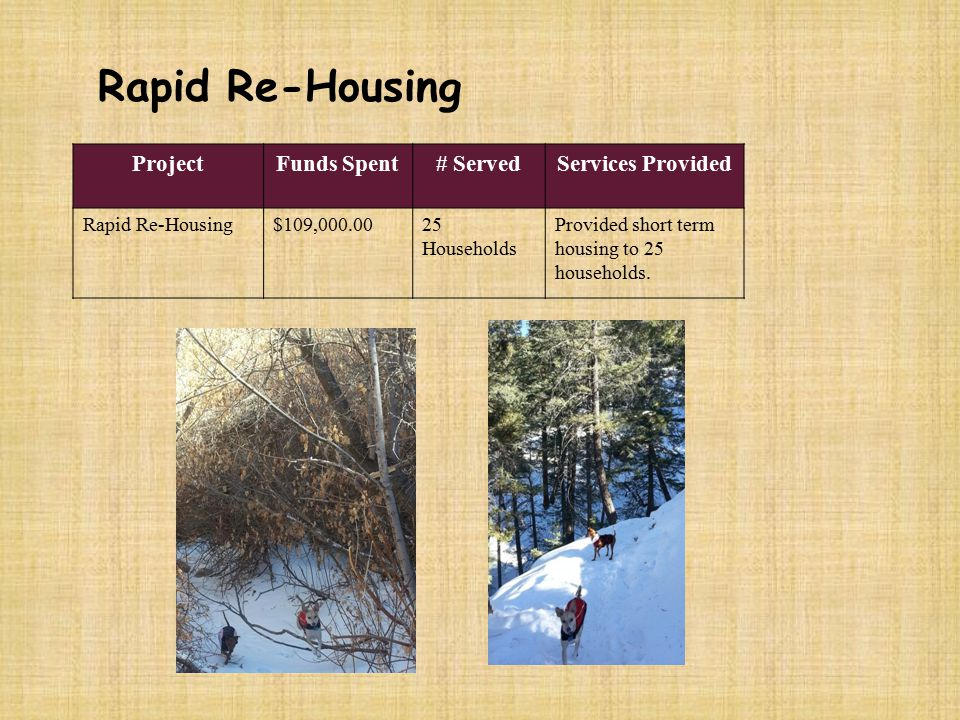 Rapid Re-Housing ProjectFunds Spent# ServedServices Provided Rapid Re-Housing$109,000.0025 Households Provided short term housing to 25 households.