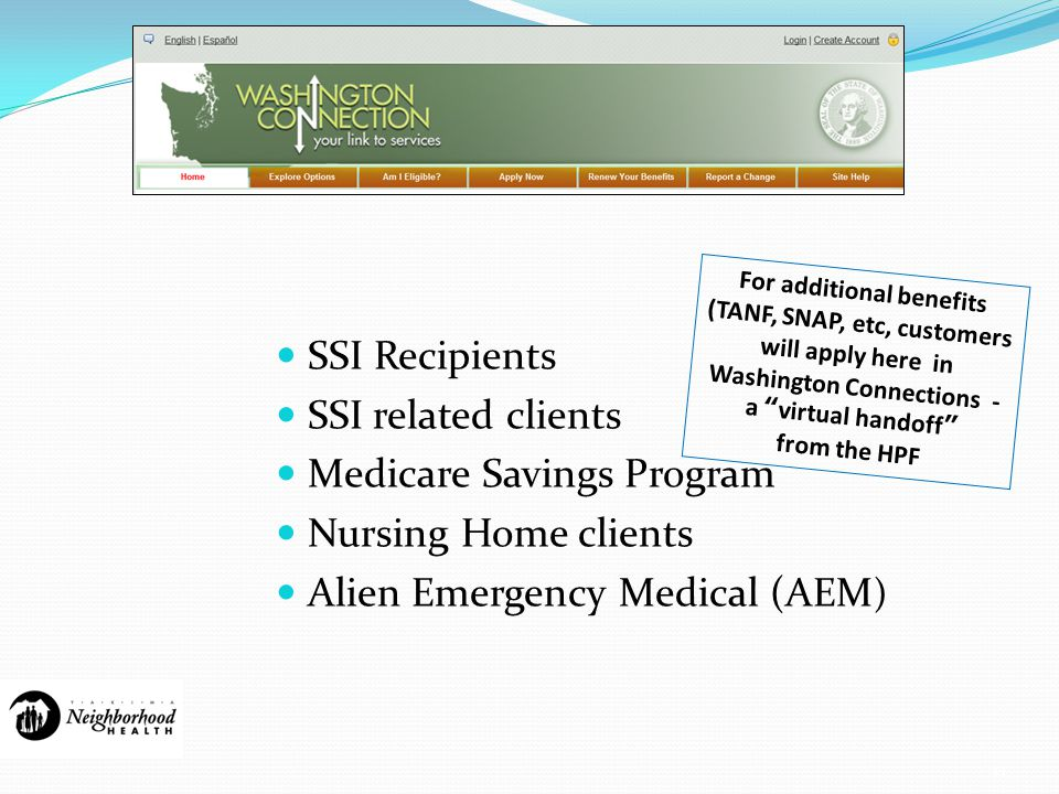 13 SSI Recipients SSI related clients Medicare Savings Program Nursing Home clients Alien Emergency Medical (AEM ) For additional benefits (TANF, SNAP, etc, customers will apply here in Washington Connections - a virtual handoff from the HPF