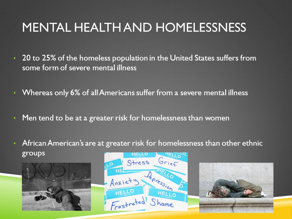 20 to 25% of the homeless population in the United States suffers from some form of severe mental illness Whereas only 6% of all Americans suffer from
