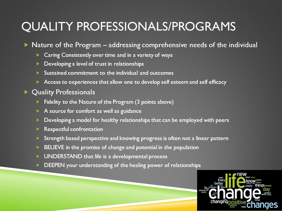 QUALITY PROFESSIONALS/PROGRAMS  Nature of the Program – addressing comprehensive needs of the individual  Caring Consistently over time and in a var