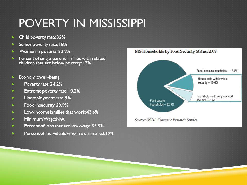 POVERTY IN MISSISSIPPI  Child poverty rate: 35%  Senior poverty rate: 18%  Women in poverty: 23.9%  Percent of single-parent families with related