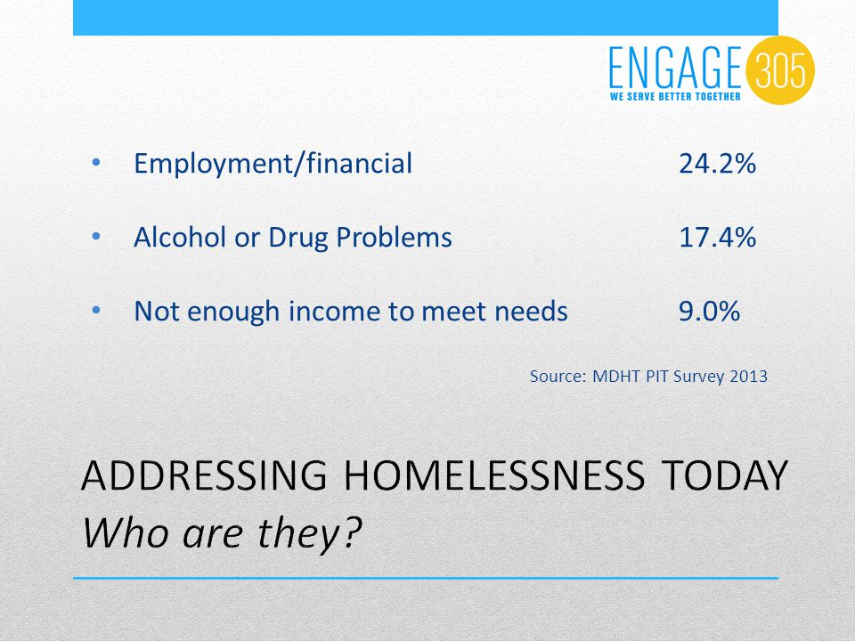 Employment/financial24.2% Alcohol or Drug Problems17.4% Not enough income to meet needs 9.0% Source: MDHT PIT Survey 2013