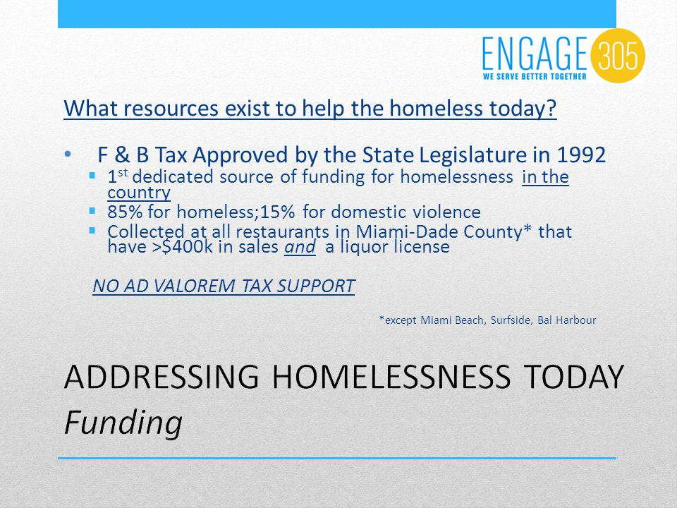 Other  USHUD  Leverages the F & B 2:1  Homeless Trust the Lead Agency for the Miami-Dade County Continuum of Care  State of Florida  Private Sector
